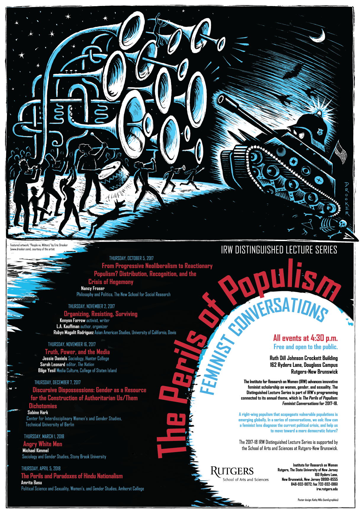 IRW 2017-18 Distinguished Lecture Series Poster -- The Perils of Populism: Feminist Conversations